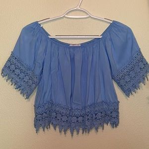 Blue short sleeve blouse